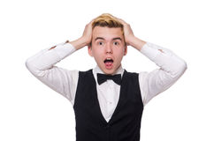 O homem novo na veste clássica preta Fotografia de Stock Royalty Free