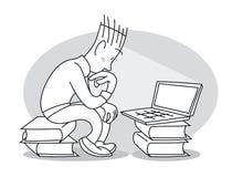 O homem novo senta-se na frente do portátil ilustração royalty free