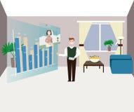 O homem olha a informação do negócio na tela esperta Fotografia de Stock Royalty Free