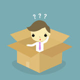 O homem pensa dentro da caixa ilustração do vetor