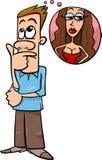 O homem pensa sobre desenhos animados da mulher Fotos de Stock Royalty Free
