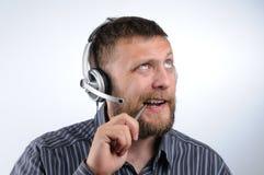 O homem pensativo do serviço de atenção a o cliente Imagem de Stock Royalty Free