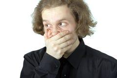 O homem prendeu a boca Imagem de Stock