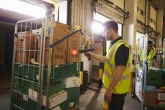O homem prepara e faz a varredura de pacotes em um armazém para a entrega fotografia de stock