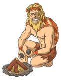 O homem primitivo inflama um fogo Imagem de Stock
