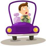 O homem que conduz um carro ilustração royalty free