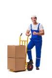 O homem que entrega a caixa isolada no branco Foto de Stock Royalty Free