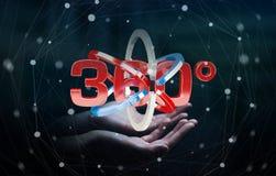 O homem que guarda 360 graus 3D rende o ícone em seu han Foto de Stock