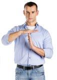 O homem que mostra o tempo para fora gesticula Foto de Stock
