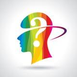 O homem que pensa muitos questiona Brain Idea Imagem de Stock