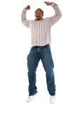 O homem que salta com prazer imagens de stock