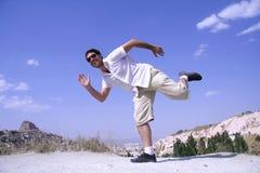 O homem que salta na alegria Fotos de Stock Royalty Free