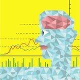O homem que tem o cérebro dos diamantes com gráfico conservado em estoque Imagens de Stock Royalty Free