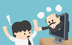 O homem que trabalham duramente e estão receosos de gritar do chefe, conceito da ilustração do tela de computador ilustração do vetor