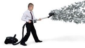 O homem recolhe o vácuo do dinheiro Fotos de Stock Royalty Free