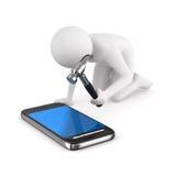 O homem repara o telefone. Imagem 3D isolada Fotografia de Stock Royalty Free
