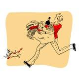 O homem running com um pacote grande do alimento e de um cachorrinho ilustração do vetor