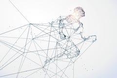 O homem running, conexão de rede transformou em ilustração stock