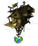 O homem satisfeito senta-se em sua casa isolado Elevação acima da terra colorido Imagens de Stock Royalty Free