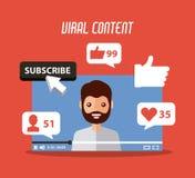 O homem satisfeito viral da barba no suscribe video como segue o comentário ilustração stock