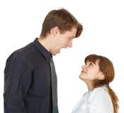 O homem shouted irritadamente na mulher Imagens de Stock Royalty Free