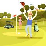 O homem superior alegre feliz salta no campo verde do golfe ilustração stock