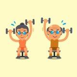O homem superior e a mulher dos desenhos animados que fazem a substituição assentaram o exercício da imprensa do peso ilustração stock