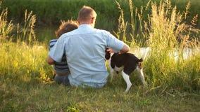 O homem superior e um menino com seu cão estão sentando-se no banco de rio Conversação amigável, conversação masculina, por do so vídeos de arquivo
