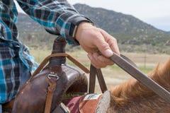 O homem toma as rédeas em Aguanga Califórnia imagem de stock royalty free