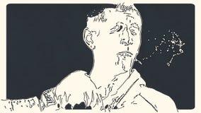 O homem toma um punho no movimento lento ilustração do vetor