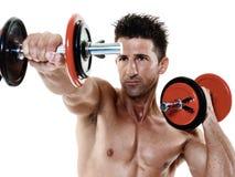 O homem torna mais pesados exercícios isolado Imagem de Stock Royalty Free