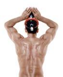 O homem torna mais pesados exercícios isolado Fotografia de Stock Royalty Free