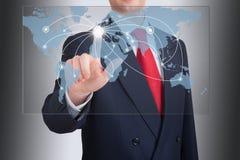 Homem de negócios que aponta uma estrutura de rede social Imagens de Stock