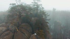 O homem trabalha com um smartphone que senta-se na parte superior da montanha coberta com a névoa vídeos de arquivo