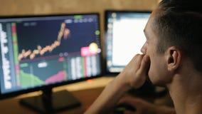O homem trabalha no mercado financeiro no computador video estoque