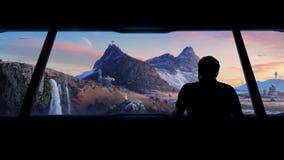 O homem vê a colônia futurista no planeta estéril filme