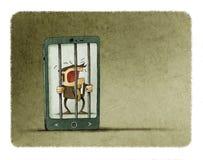 O homem viciado ao telefone celular é prendido dentro do telefone como uma prisão ilustração do vetor