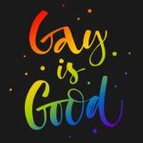 O homossexual ? bom O arco-?ris de Gay Pride colore cita??es modernas do texto da caligrafia no fundo escuro do fundo ilustração stock