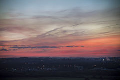 O horizonte do céu no por do sol imagens de stock royalty free