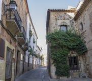 O hospital do peregrino Knights Caceres de construção gótico, Espanha fotografia de stock
