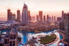 O hotel do endereço em Dubai na manhã foto de stock