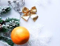 O humor do Natal decora os brinquedos e o ouropel bonitos da árvore de Natal Imagens de Stock