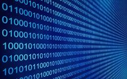 01 o i dati binari sullo schermo di computer, 3d rendono Fotografie Stock Libere da Diritti