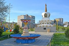 O.I. Gorodovikov Square with the fountain and a mortar of Reconciliation. Elista, Kalmykia.  stock photography