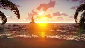 O iate navega após uma ilha tropical no fundo de um por do sol bonito Cena do verão Loopable video estoque