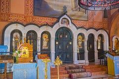 O iconostasis da igreja do russo Foto de Stock