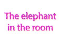 O idioma da ilustração escreve o elefante na sala isolada na foto de stock royalty free