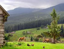 O idyll do estabelecimento da montanha Fotografia de Stock