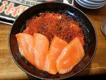 O ikura Salmon don, alimento japonês, Japão Fotos de Stock Royalty Free