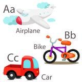 O ilustrador para veículos ajustou 1 com bicicleta e carro do avião ilustração royalty free